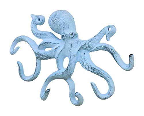 Rustic Dark Blue Whitewashed Cast Iron Octopus Hook 11 Inch - Decorative Hook - Sealife Metal Wall Hook