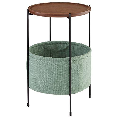 Marchio Amazon -Rivet, tavolinetto rotondo modello Meeks, con cestino, colore noce e tessuto colore foglia di tè