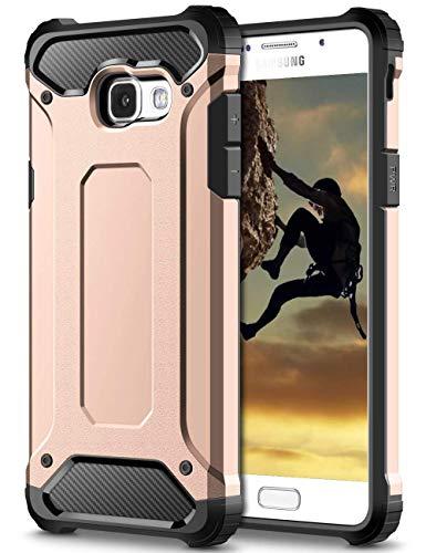 Coolden Samsung Galaxy A5 2017 Hülle, Premium [Armor Serie] Outdoor Stoßfest Schutzhülle Tough Silikon + Hard Bumper Militärstandard Handyhülle für Samsung Galaxy A5 2017(Rosa)