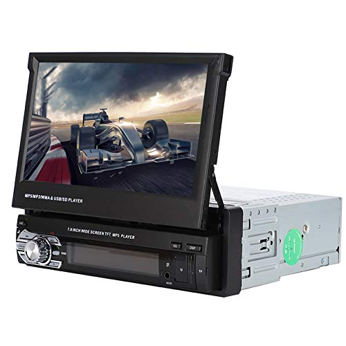 7In Multimedia Car Stereo, Stereo-Single Din Retractable Touch Screen Bluetooth Car MP5 Audio Video Player Receiver, Support Reversing Video Input, with FM Radio