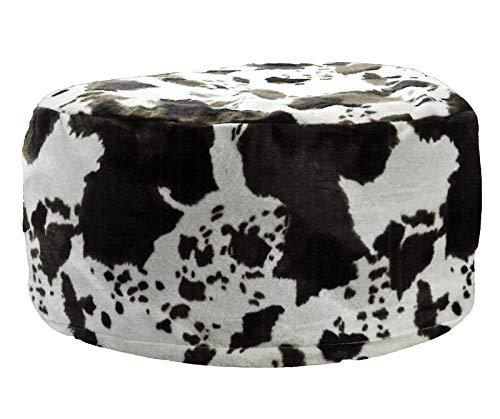 heimtexland ® Pouf in vello di mucca, sgabello gonfiabile, pouf effetto pelliccia animale tipo 605, Poliestere, Nero , 25 x 55 cm