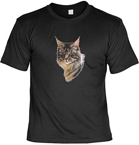 T-Shirt mit Motiv - Bild Katzenkopf Main Coon - USA Shirt Bedruckt Katze, Größe:XL