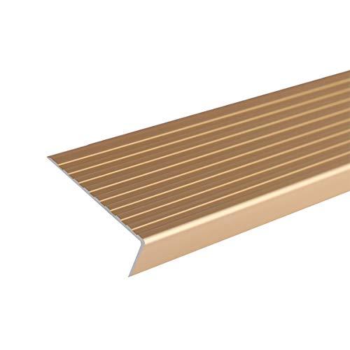 Cierre de Escaleras 1 m de Longitud en Forma de Aluminio de Aluminio Antideslizante sin Deslizamiento 75x25mm ángulo de ángulo escaleras de Borde Perfiles 2 PCS Exterior e Interior