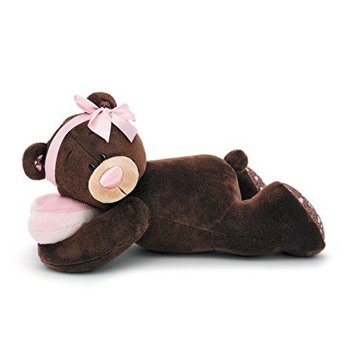 Orange Toys M001/30 – Ours Milk endormi, Doudou pour Adultes et Enfants dans Emballage Cadeau, 30 cm Marron/Rouge