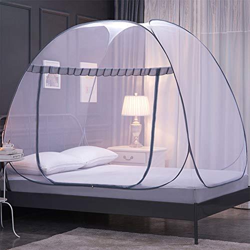 Bed Netting Moskitonetz Bett tragbar Falten Zelt aufklappen Mesh Baldachin Vorhänge mit unten für Zuhause Schlafzimmer Camping im Freien 2 Öffnungen,B,150x200x147cm