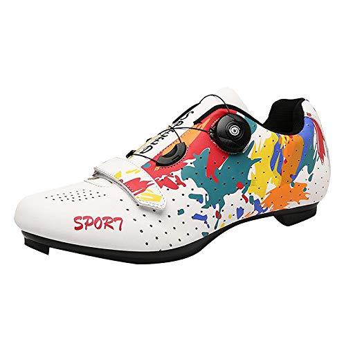 Baosity Transpirable Zapatos de Ciclismo Bicicleta de Carretera, Spin Zapatos con Hebilla de Encaje, Correas de Gancho y Bucle, Zapatos de Bicicleta de - Blanco 40