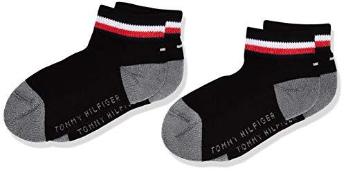 Tommy Hilfiger TH KIDS ICONIC SPORTS QUARTER 2P calcetines, negro, 39/42 (Pack de 2) para Hombre