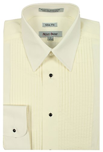 London Fog Mens Laydown Collar French Cuff Tuxedo Shirt