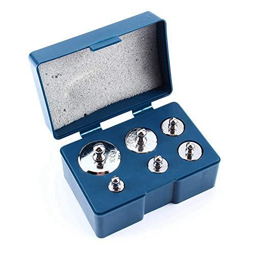 Akozon Kit de peso de calibración de gramos 6 piezas/juego 100g 50g 20g 10g 5g Peso de precisión para balanza digital Escala de joyería