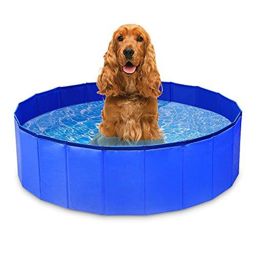 GoPetee Piscina para Perros Mascotas Plegable Bañera para Mascotas Plegable Baño Portátil para Perros y Gatos Pequeños Medianos y Grandes Interior o Exterior ((XL 120 x 30 cm) Ola)