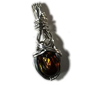 Luminescent Mexican Fire Agate Opal Pendant - Sterling Silver Necklace