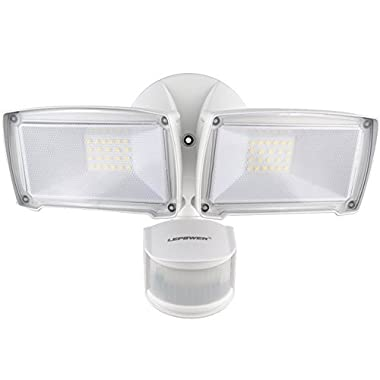 LEPOWER 3000LM LED Security Light, 28W Outdoor Motion Sensor Light, 5500K, IP65 Waterproof, Adjustable Head Flood Light for Entryways, Stairs, Yard and Garage