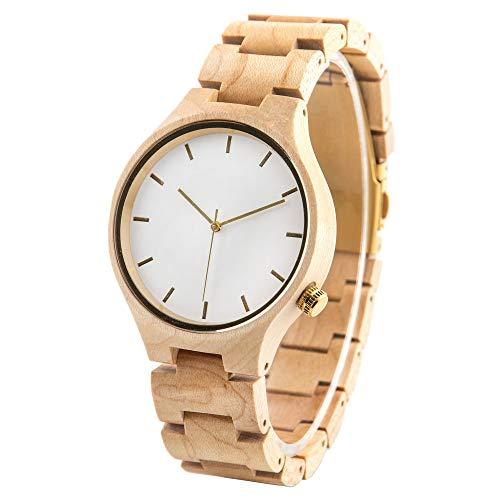 Reloj de pulsera de madera personalizado con grabado unisex de madera de arce casual reloj analógico de cuarzo para mujer