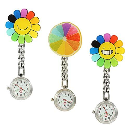 Wopohy Nurse Pocket Relojes, 3 unidades, reloj de bolsillo con diseño de girasol, de cuarzo, con broche de clip fijo, para médicos, enfermeras y sanitarios