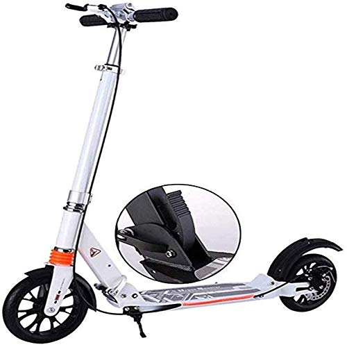 Best Deals! KDKDA Scooters Kick with Large Wheel Manual Disc Brake, Folding Double Suspension Commut...