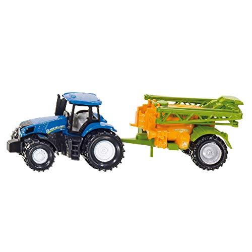 SIKU 1668, Traktor mit Feldspritze, Metall/Kunststoff, Blau/Orange, Bewegliches Spritzgestell