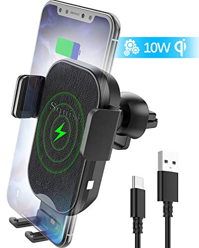 squish Wireless Car Charger, Qi Wireless Charger Car Phone Mount Auto Clamping for Air Vent, 7.5W Fast Charging for Mobile Phone (SQ461)