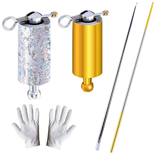 Broadsheet 2 Pcs Magic Pocket Staff, Portable Retractable Collapsible Metal Appearing Cane for Professional Magician Stage Staff Magic Tricks Accessories ( 43.3Inch/110cm, Gold Silver, Silver)