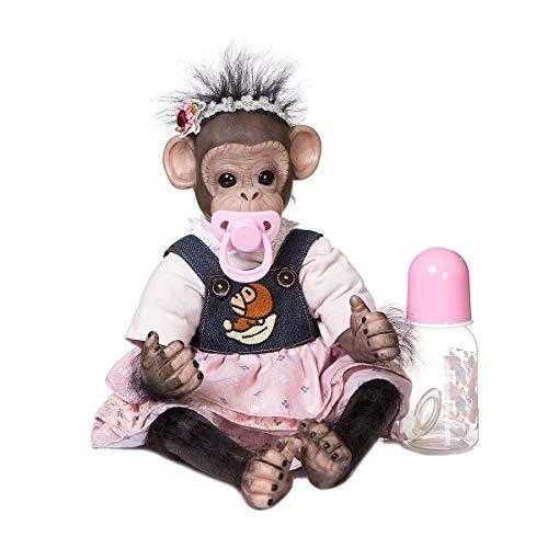 Zero Pam 18 inch Lifelike Chimpanzee Monkey Baby Dolls Reborn Animals Newborn Orangutan Dolls Truly Alive Monkey Dolls for Toddler Kids Xmas Gift