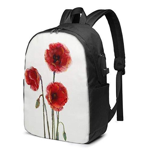 AOOEDM Poppy Flowers Blooms Mochila Ligera de Viaje Estampada con Puerto de Carga USB y Puerto para Auriculares