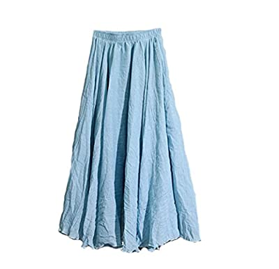 "Hotgirldress Women's Bohemian Style Elastic Waist Band Cotton Linen Long Maxi Skirt Dress Waist 23.0""-35.0"""