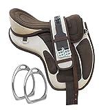 Y&Z Enterprises - Sottosella per cavallo inglese senza alberi sintetici, con cinturino e circonferenza da 43,2 cm, colore: panna