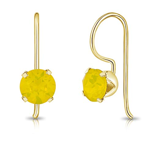 DTPSilver - 925 Sterling Silver Yellow Gold Plated Round Fixed Hook Earrings made with Glittering Crystals from Swarovski Elements - Diameter: 6 mm - Colour : Yellow Opal