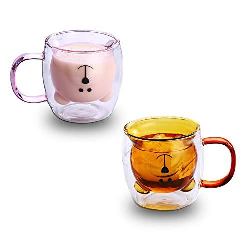 Netter Bär Bier Kaffeetassen Süßer Tee Milch Panda Espressotassen Becher Doppelwandige Isoliergläser Geburtstagsgeschenke(Paar Tassen)