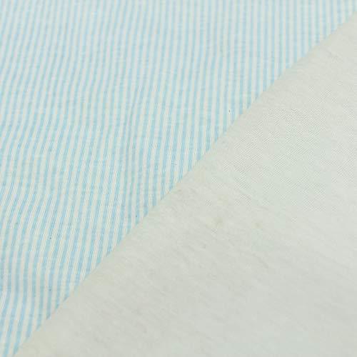 kawenSTOFFE Steppstoff Baumwolle Doubleface gestreift Pastellblau Cremeweiss Meterware