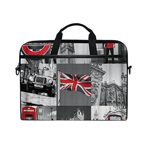 LOSNINA Laptop Tasche 15-15.4 Zoll,Retro Art industrielles Wiederherstellungs London Flaggen Stangen Metro Telefonzelle Muster,Neue Drucken Muster Aktentasche Schulter Messenger Handtasche Case Sleeve