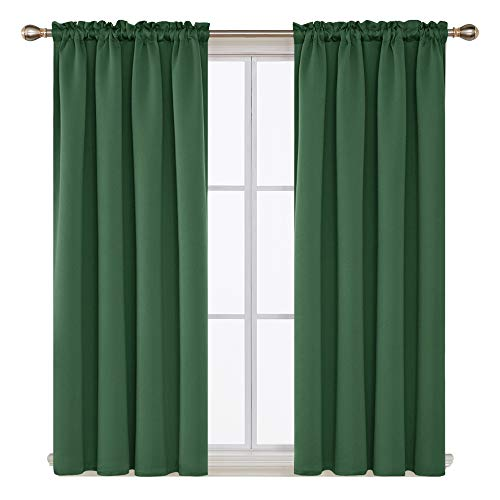 Deconovo Pastoral Curtains Blackout Rod Pocket Green Window Curtain for Boys Room 42Wx54L Inch Dark Forest 2 Panels