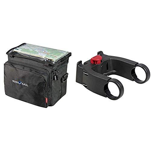 KlickFix Fahrradtasche Rixen und Kaul, schwarz, 16 x 26 x 22 cm, 8 liters & Zubehör Lenkeradapter E Schwarz (Model 0211EB), One Size Ohne Schloss