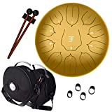 Steel Tongue Drum - 12 Inch, 11 Notes, Steel Drum Percussion Instruments - Handpan Drum for Adults and Kids – With Upgraded Travel Bag and Accessories For Yoga, Meditation, Relaxation, Therapy (Gold)