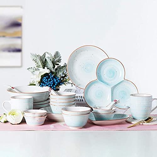 QZH Juego de platos de cerámica, tazón/cuchara/plato, juego de vajilla de estilo nórdico, juego de vajilla de fiesta familiar y cocina, 2 azul