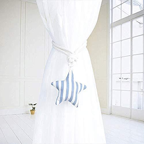 Portineless 1 Paar Stern Vorhänge Raffhalter Magnetschnalle kreative kostenlose Installation ohne Lochung Vorhang Clip Schlafzimmer Vorhang Schnallen@Gray_Blue