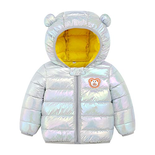 Gray, 2-3Years Baby Girls Boys Winter Jacket Snowsuit Kids Windproof Hooded Trench Coats Windbreaker Outwear Cartoon Print Down Jacket Toddler Baby Outdoor Warm Jackets Zipper
