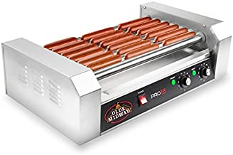 Olde Midway Electric 18 Hot Dog 7 Roller Grill Cooker Machine 900-Watt - Commercial Grade