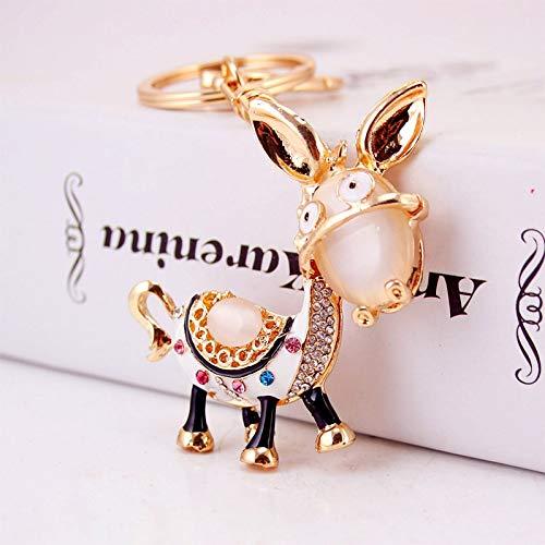 HYM Schlüsselanhänger mit Diamanten und niedlichen kleinen Eselschmucks Niedliche Tasche Zubehör Geschenk 11cm (Color : A)