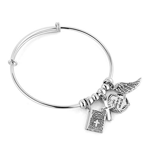 UNIQUEEN Bible Religious Adjustable Bangle Charm Bracelet for Women Men (God is Within Her She Will Not Fall Psalm 46:5)