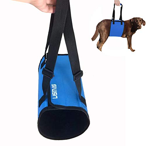 USMIS Dog Assistance Lift Support Limping Support Harness for Cruciate Ligament Dog Sling with Handle for Canine Aid, Veterinarian Approved Dog Lift Harness for Rehabilitation (Large, Blue)