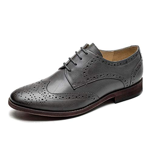 U-lite Women's Perforated Lace-up Wingtip Pure Color Leather Flat Oxfords Vintage Oxford Shoes Grey 5.5