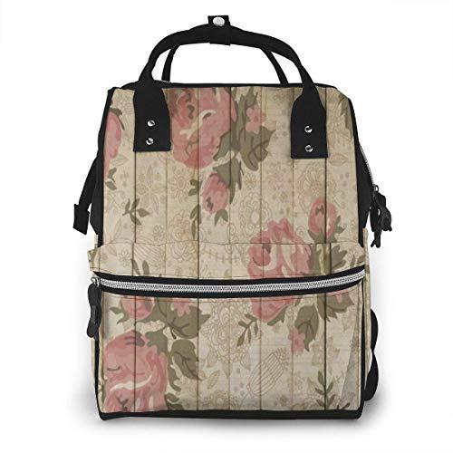 JUKIL Mochila de pañales Floral Wood Plank Diaper Backpack Fashion Waterproof Multi-Function Travel Backpack