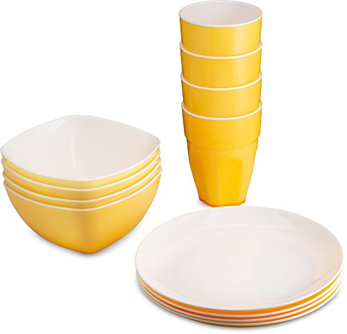 PLASTI HOME Reusable Plastic Party Dinnerware Set(12pcs) Ideal For Kids Fancy Hard Plastic Plates, Bows &Cups In Yellow Festive Colors