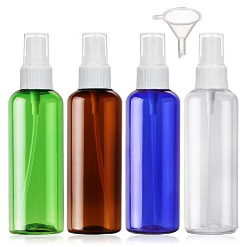 Flacone Spray Vuoto Plastica Trasparente contenitore Atomizzatore Set Di Bottiglie Spray Da Viaggio, 4 Pezzi (100ml, 4 colori)