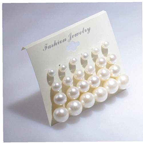 Naicasy 12pairs del Pendiente Perlas Pendientes Blanco Brillante Color Surtidos Tamaños imitación de la Perla Bola Redonda Exquisita Artificial (Blanco)