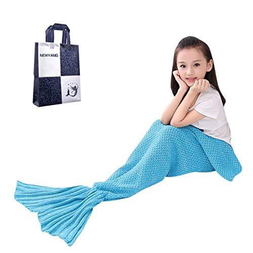 NEWYANG Meerjungfrau Flosse Decke Decke Meerjungfrau, Meerjungfrau Decke Rosa,Meerjungfrau Decke Kinder,Geschenke Für Mädchen,Spielzeug Für Mädchen, Kinder (Kid Light Blue)