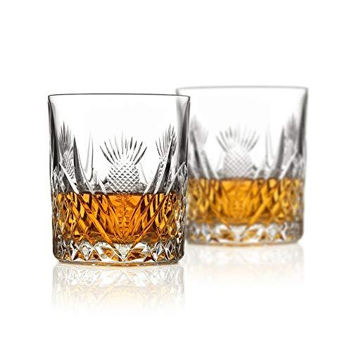 Eburya 2 x Scottish Thistle Whisky Tumbler - Kristallglas mit Diamantschliff aus Schottland