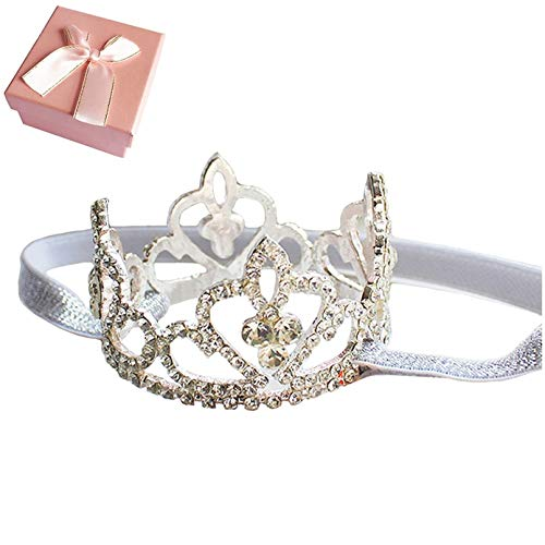 Elesa Miracle Baby Girl Infant Toddler Crystal Crown Tiara Headband Baby Photography Headband Props, Silver, Small