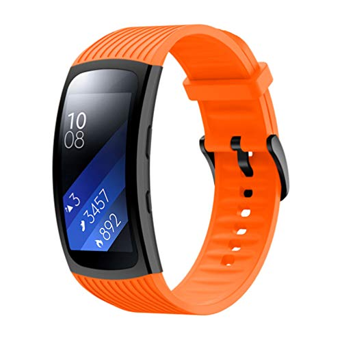 Timesic For Samsung Galaxy Gear Fit2 pro/Galaxy Gear Fit 2 シリコンバンド 腕時計 ベルト 防水 スポーツバンド (オレンジ)