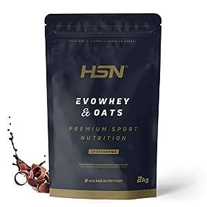 Evowhey & Oats de HSN | Proteína Whey Harina de Avena | Ideal para Desayunos o Meriendas | Bajo en Azúcar, Apto Vegetarianos, Sin Soja, Sabor Chocolate, 2Kg